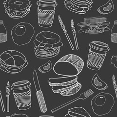Yummy food seamless pattern.Hand drawn vector