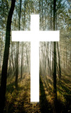 Cross with light shafts. Faith symbol. poster
