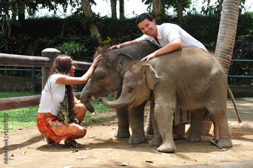 Beautiful couple with baby elephants