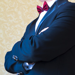 Close-up of a man in a tuxedo
