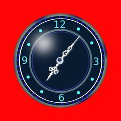 orologio azzurro su sfondo rosso
