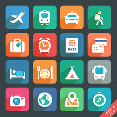 Traveling and transport Flat icons for Web and Mobile App