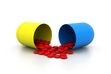 Open medicine capsule.