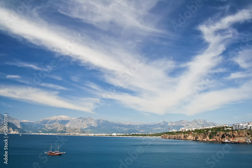 Panoramic view of Antalya bay in Turkey