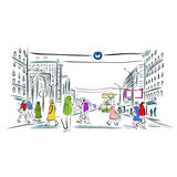 Fototapety Sketch of street with pedestrians for your design