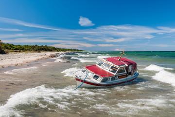 Stranded yacht