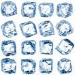 canvas print picture - Cubes of ice on a white background.