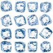 Leinwandbild Motiv Cubes of ice on a white background.