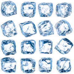Cubes of ice on a white background. With clipping path