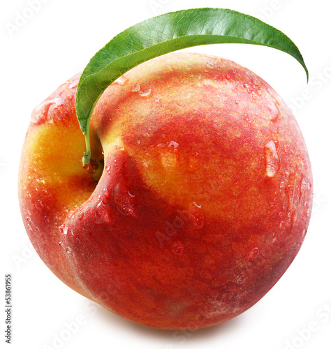 Peach with leaf isolated. © volff