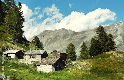 Amazing view of abandoned village in the  Swiss Alps