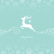 Flying Reindeer, Christmas Ball & Stars Retro/White