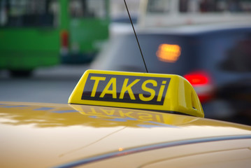 Istanbul close up of roof mounted taxi cab sign