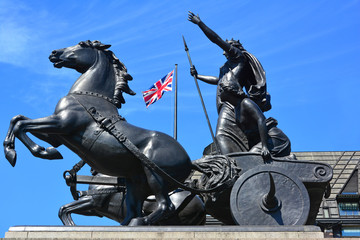 Statue of Queen Boudicca with horses and chariot, Union Jack