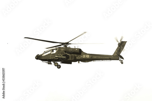 Apache Helicopter Over White
