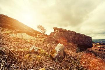 wilderness sun flare rock
