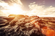 rock formation sun flare