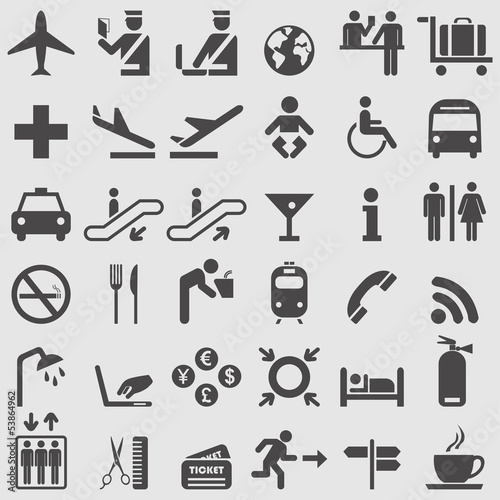 Airport complete icons set. Vector