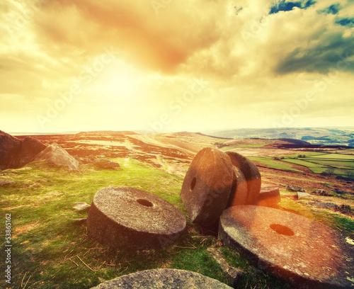millstones warm sky