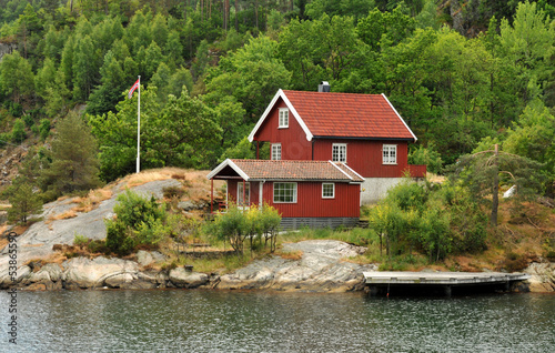 canvas print picture Haus in Norwegen