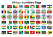 set of African countries flag buttons with rounded corners