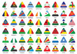 set of triangle icons with African flags