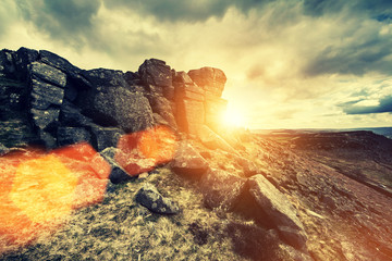 stanage edge sun flare