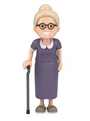 3D render of a happy old woman