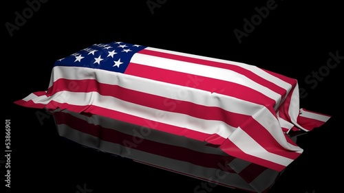 Coffin covered with the flag of USA