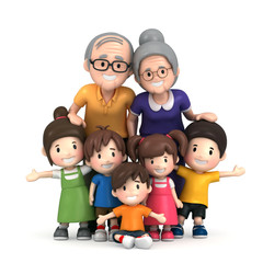 3D render of grandparents with grandchildred