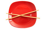 Red plate with chinese sticks