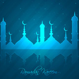 ramadan kareem bright blue colorful reflection vector illustrati