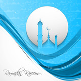 ramadan kareem card blue colorful stylish wave vector background