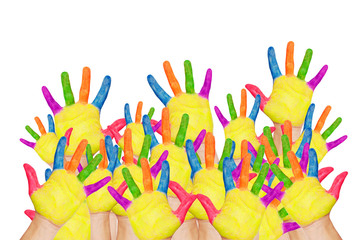Back to school! Colorful raised hands