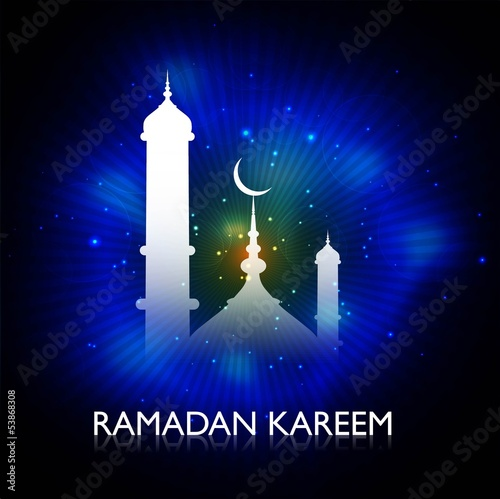 Ramadan Kareem blue background card vector