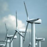 ein Offshore Windpark vor heiterem Himmel