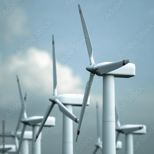 ein Offshore Windpark vor heiterem Himmel - 53868503