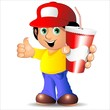 Boy Cartoon with Drink on Paper Cup-Bambino con Bibita