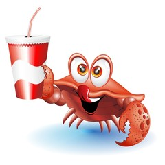 Crab Cartoon with Drink on Paper Cup-Granchio con Bibita