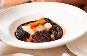 Bourguignon beef with carrot and onions