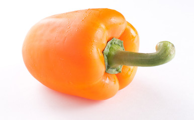 Orange bell pepper isolated with shadow