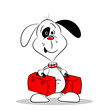A cartoon dog holding two suitcases on white background