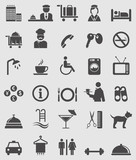 Fototapety Hotel complete icons set.Vector