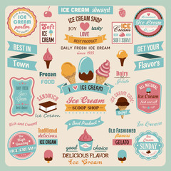Collection of Ice Cream Design Badges and Labels.