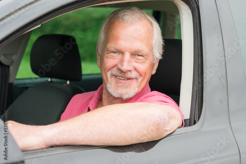 Senior in car