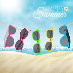Occhiali da sole in spiaggia, estate