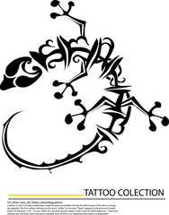 Set of gecko silhouette tattoo