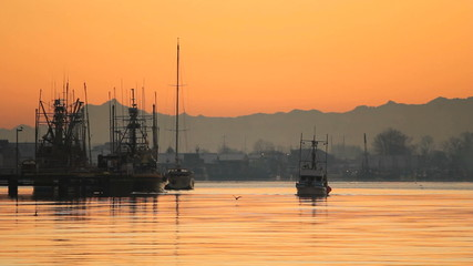 Steveston Harbor Commercial Fish Boat at Dawn
