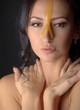Beautiful woman with honey mask