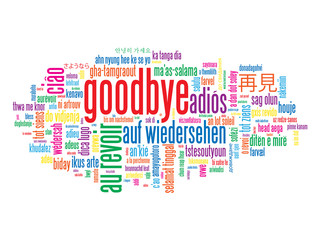 """GOODBYE"" Tag Cloud (farewell see you soon retirement card)"